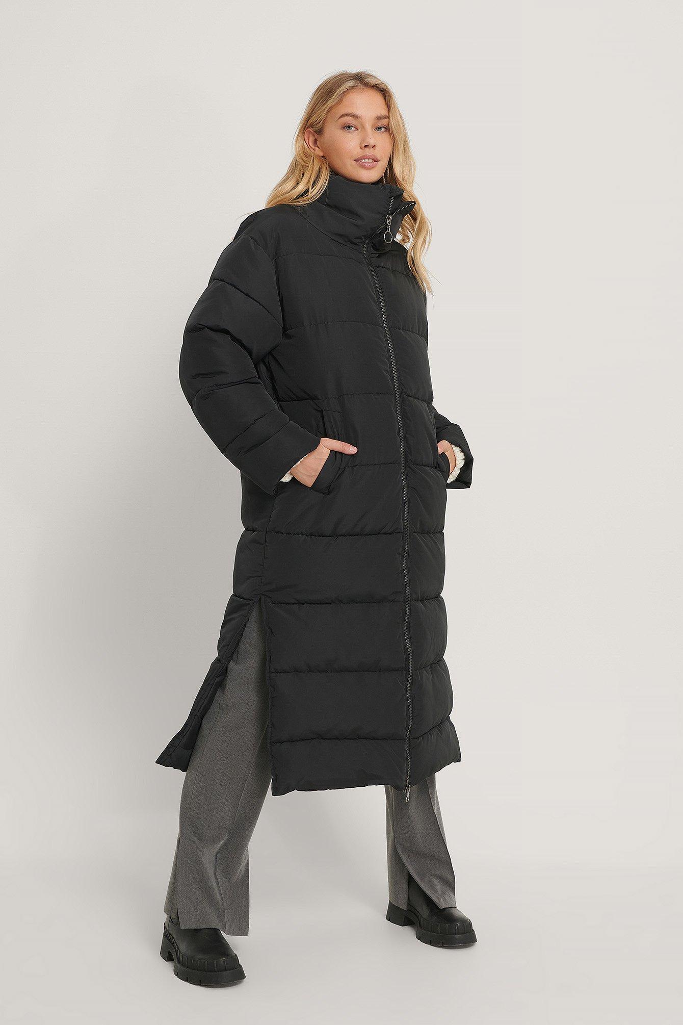 na-kd trend -  Übergroße Lange Pufferjacke - Black