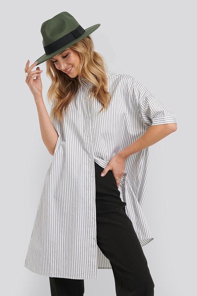 Oversized Long Striped Shirt Striped
