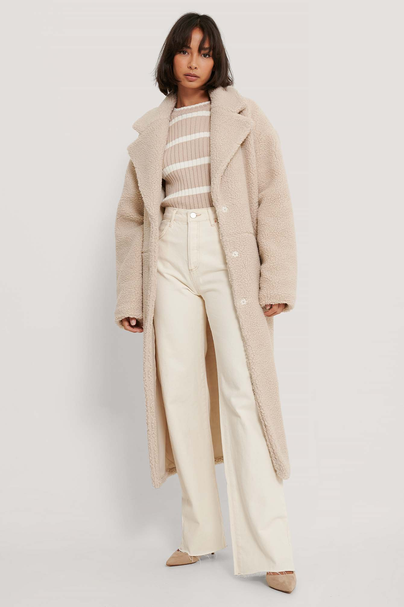 Light Beige Oversized Long Teddy Coat