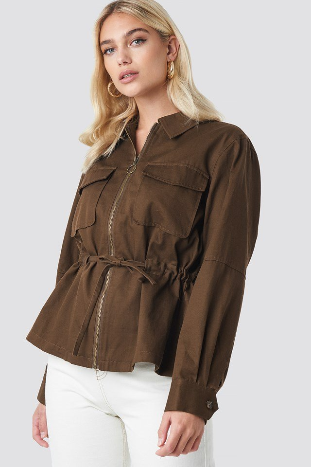 Short Oversized Marked Waist Jacket Brown
