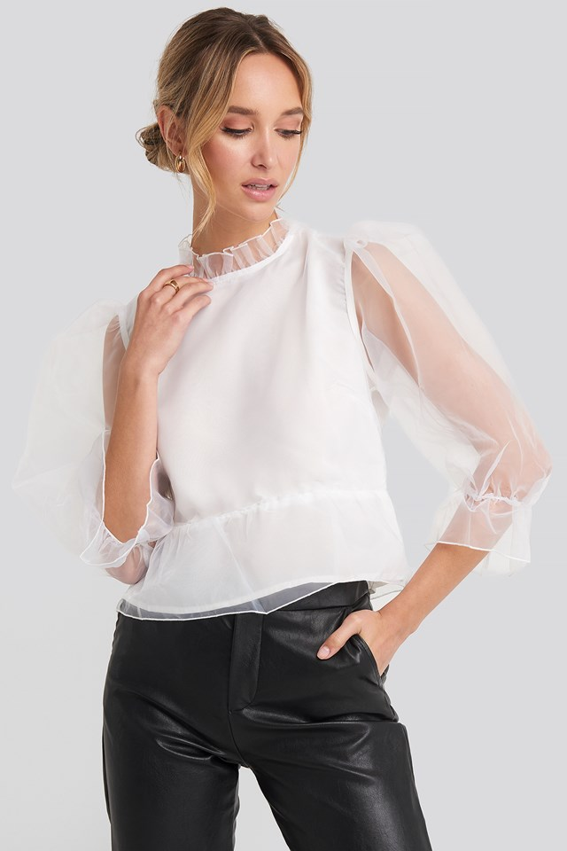 Oversized Organza Puff Sleeve Top White
