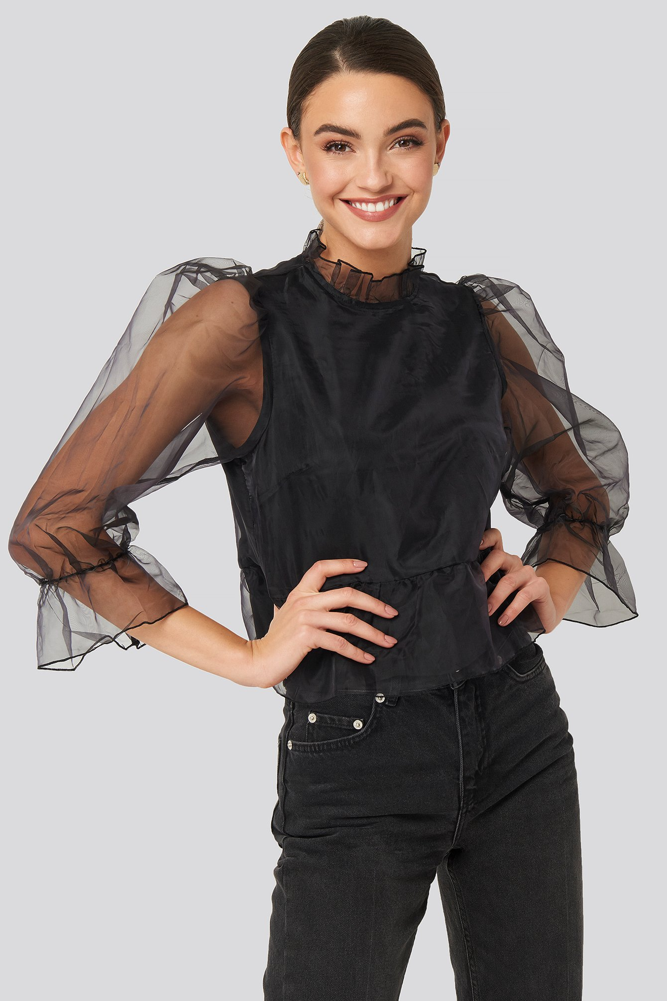 na-kd party -  Oversized Organza Puff Sleeve Top - Black