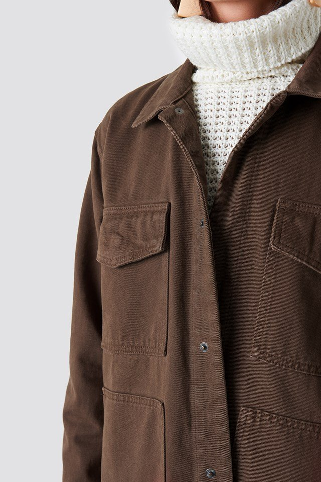 Oversized Patch Pocket Denim Jacket Brown