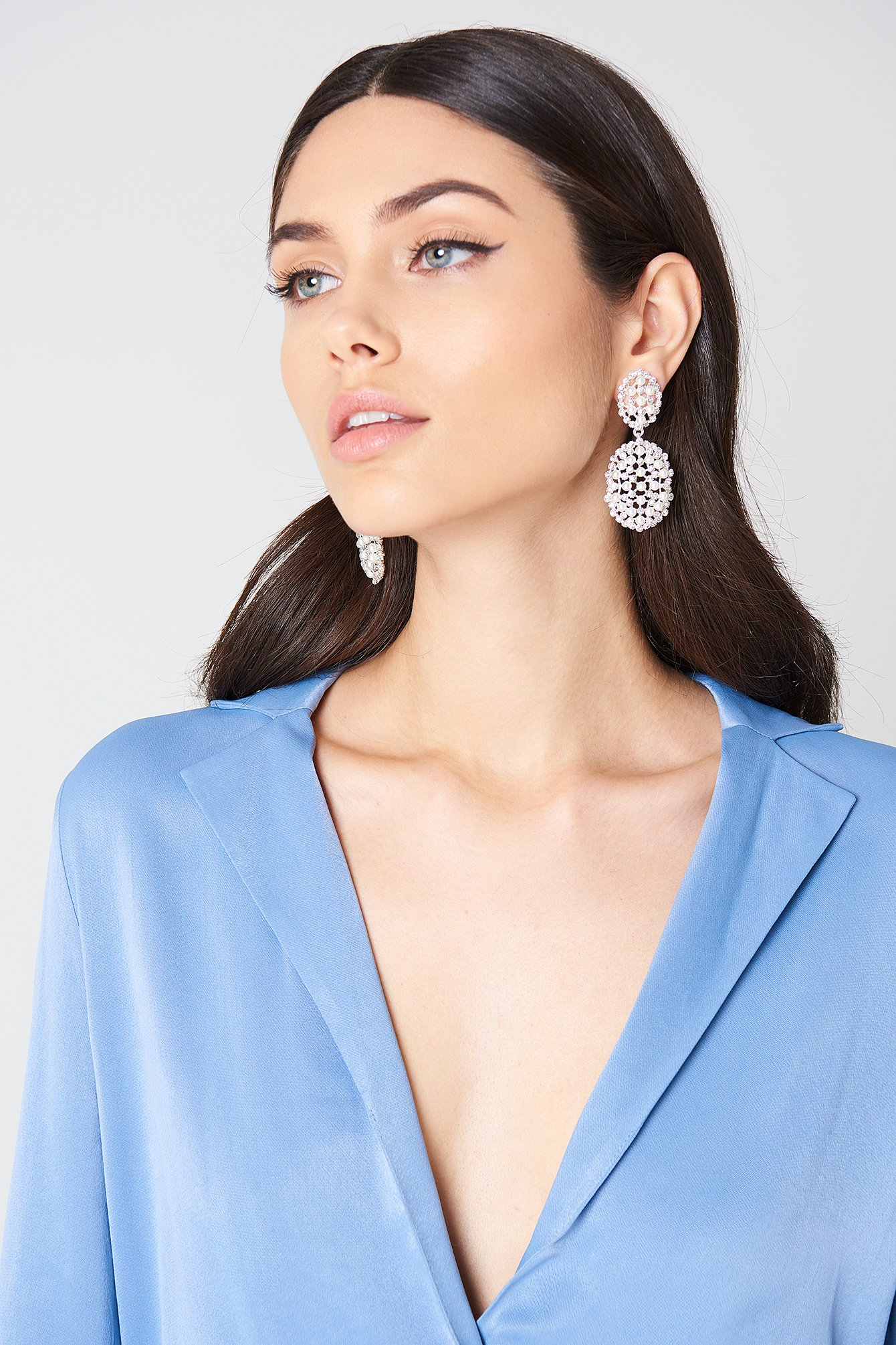 Oversized Pearl & Rhinestone Earrings NA-KD.COM