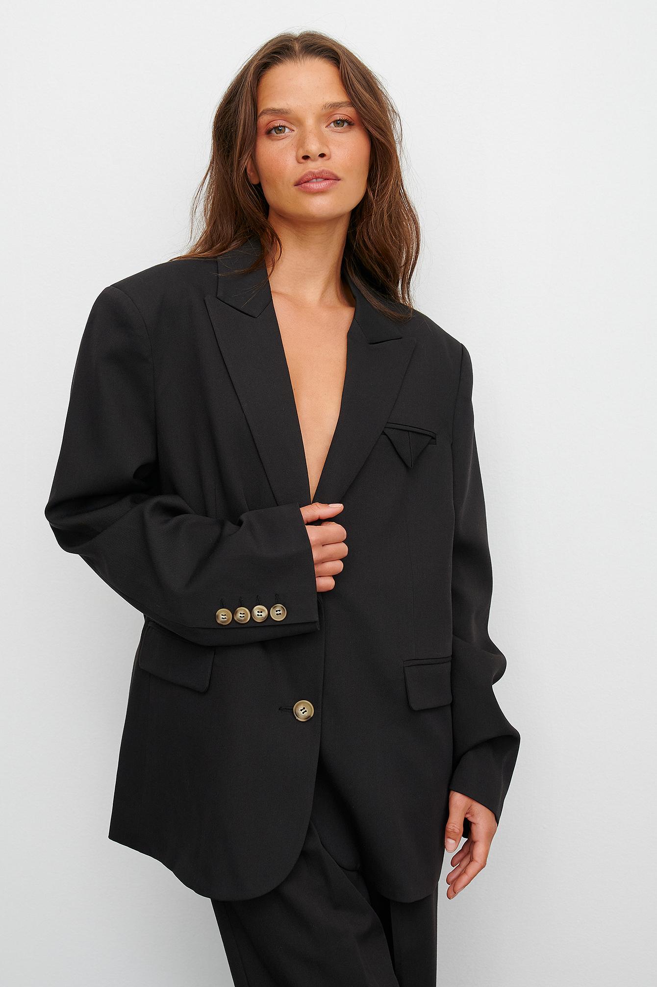 claire rose x na-kd -  Blazer Mit Oversize-Taschendetail - Black