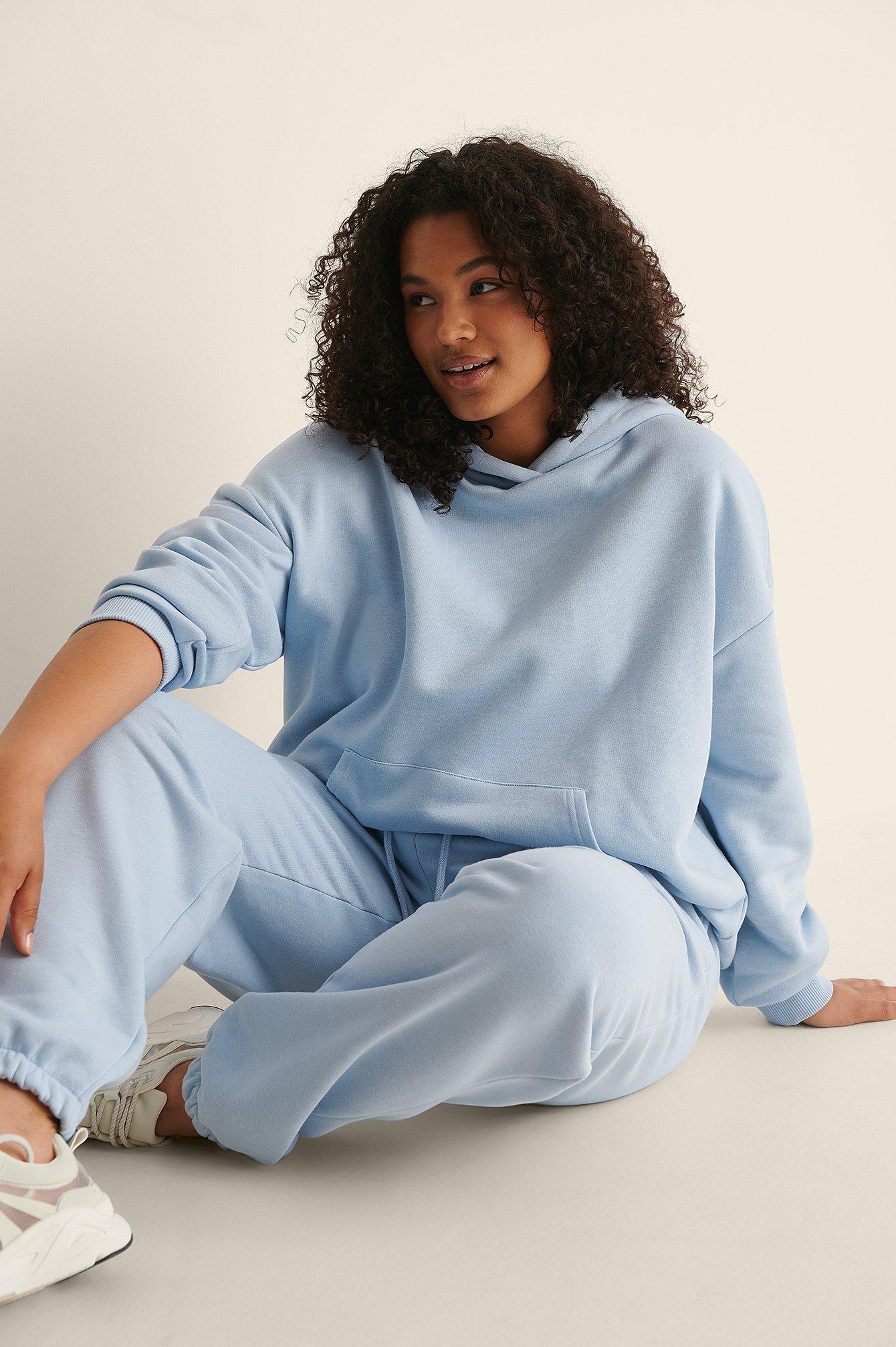 na-kd trend -  Organisch Oversize-Kapuzenpullover Mit Tasche - Blue