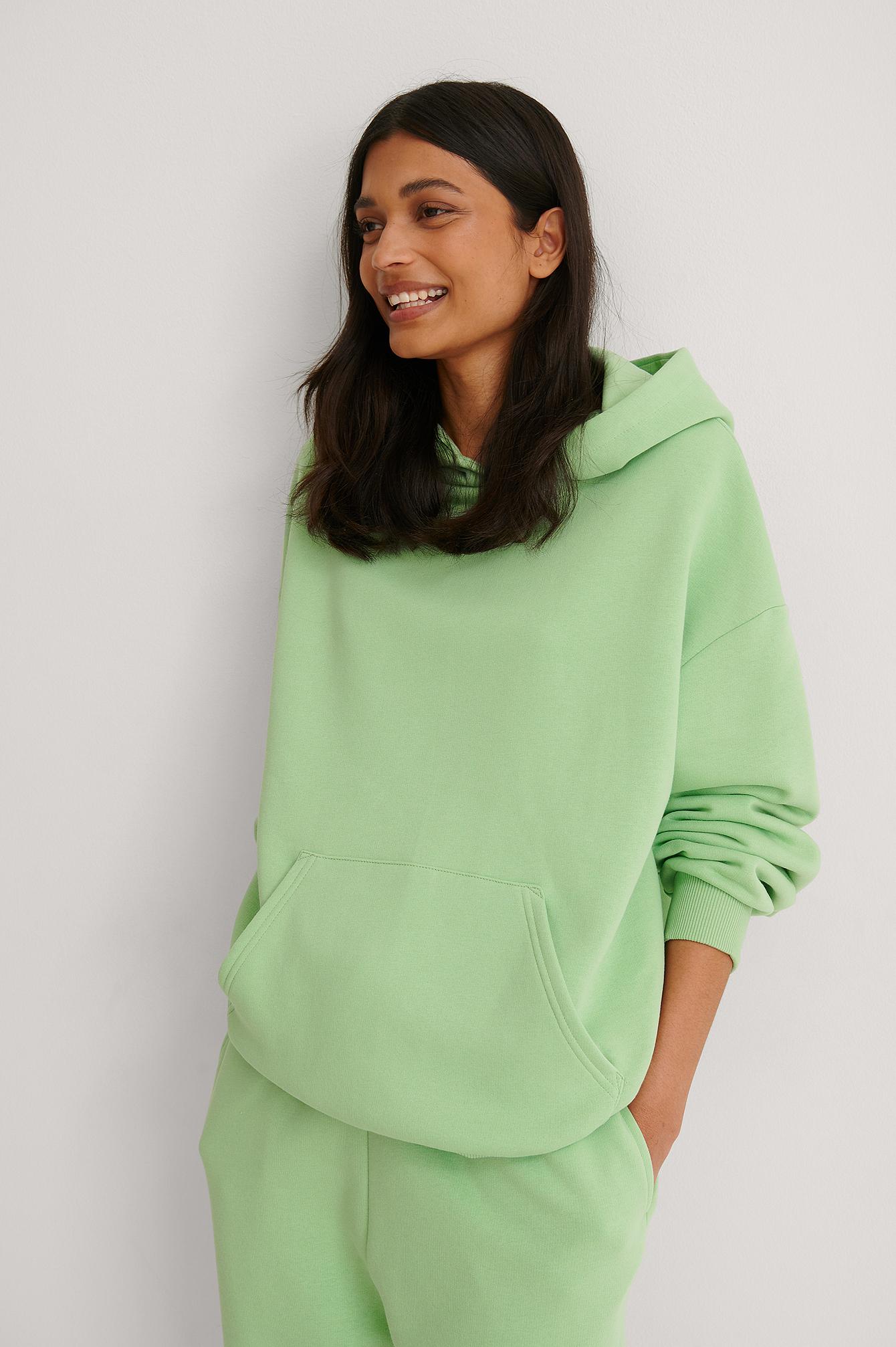 NA-KD Ekologisk Oversize Hoodie Med Ficka - Green