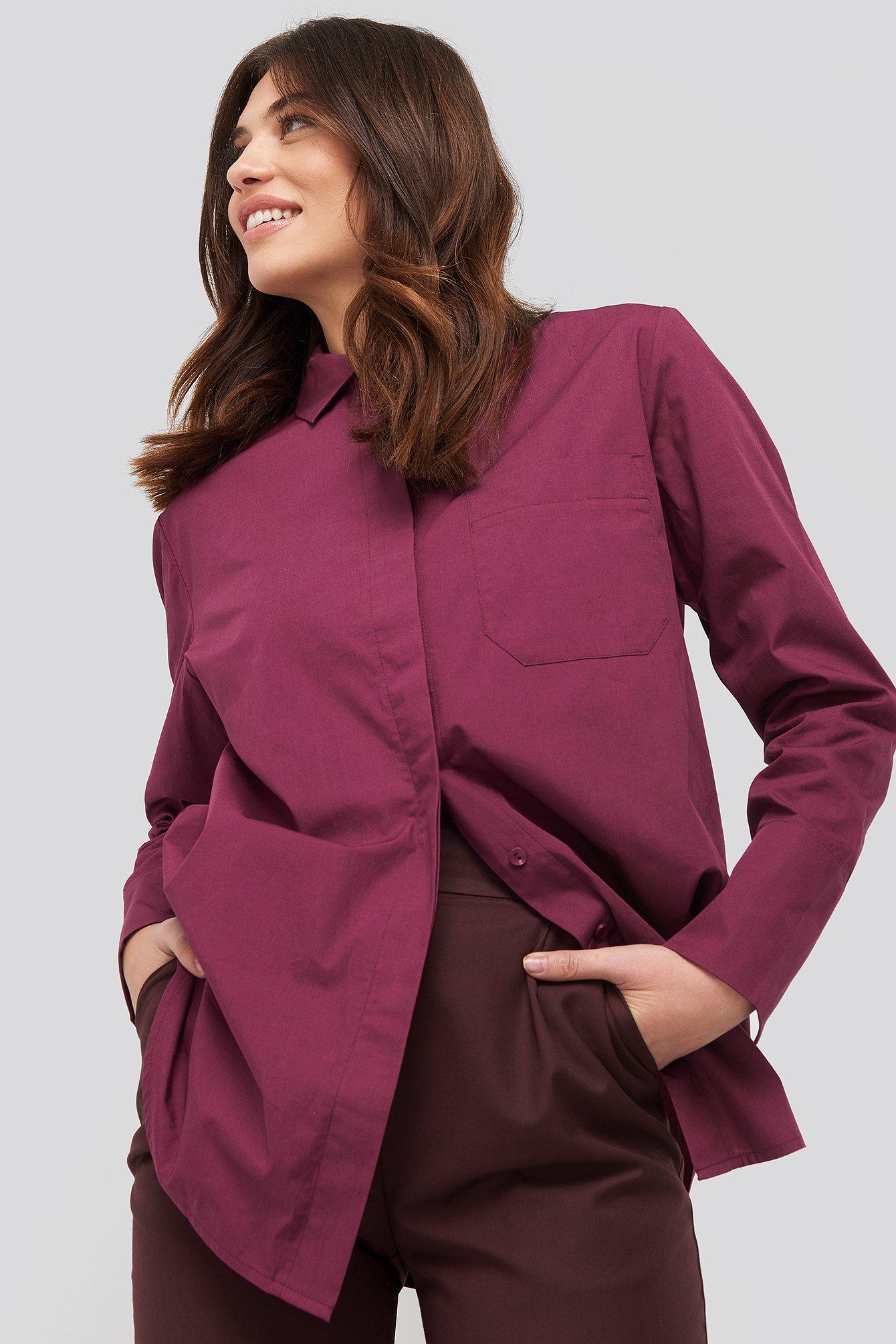 NA-KD Classic Oversized Poplin Shirt - Burgundy