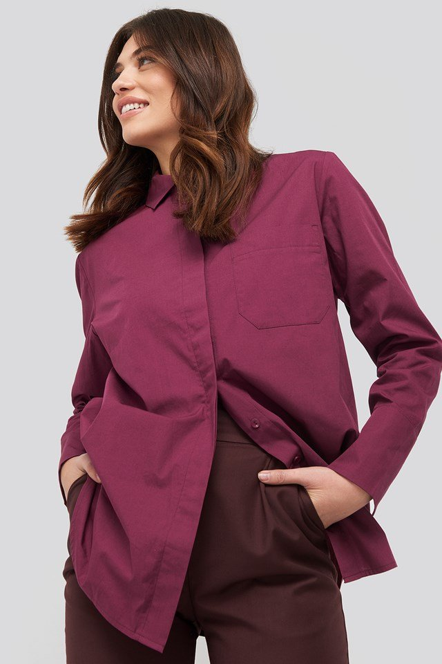 Oversized Poplin Shirt Burgundy