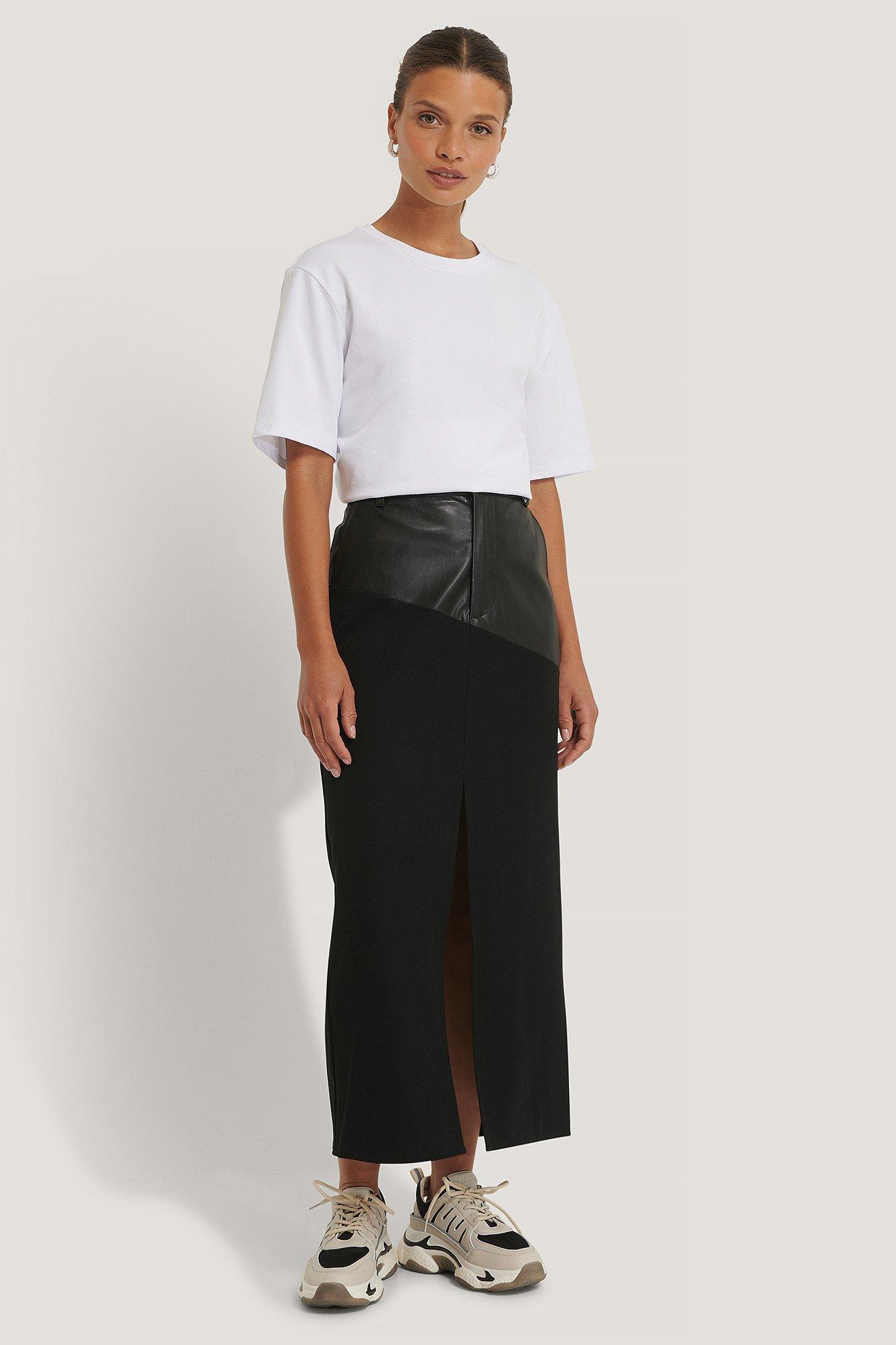 NA-KD Trend Knælang Nederdel - Black
