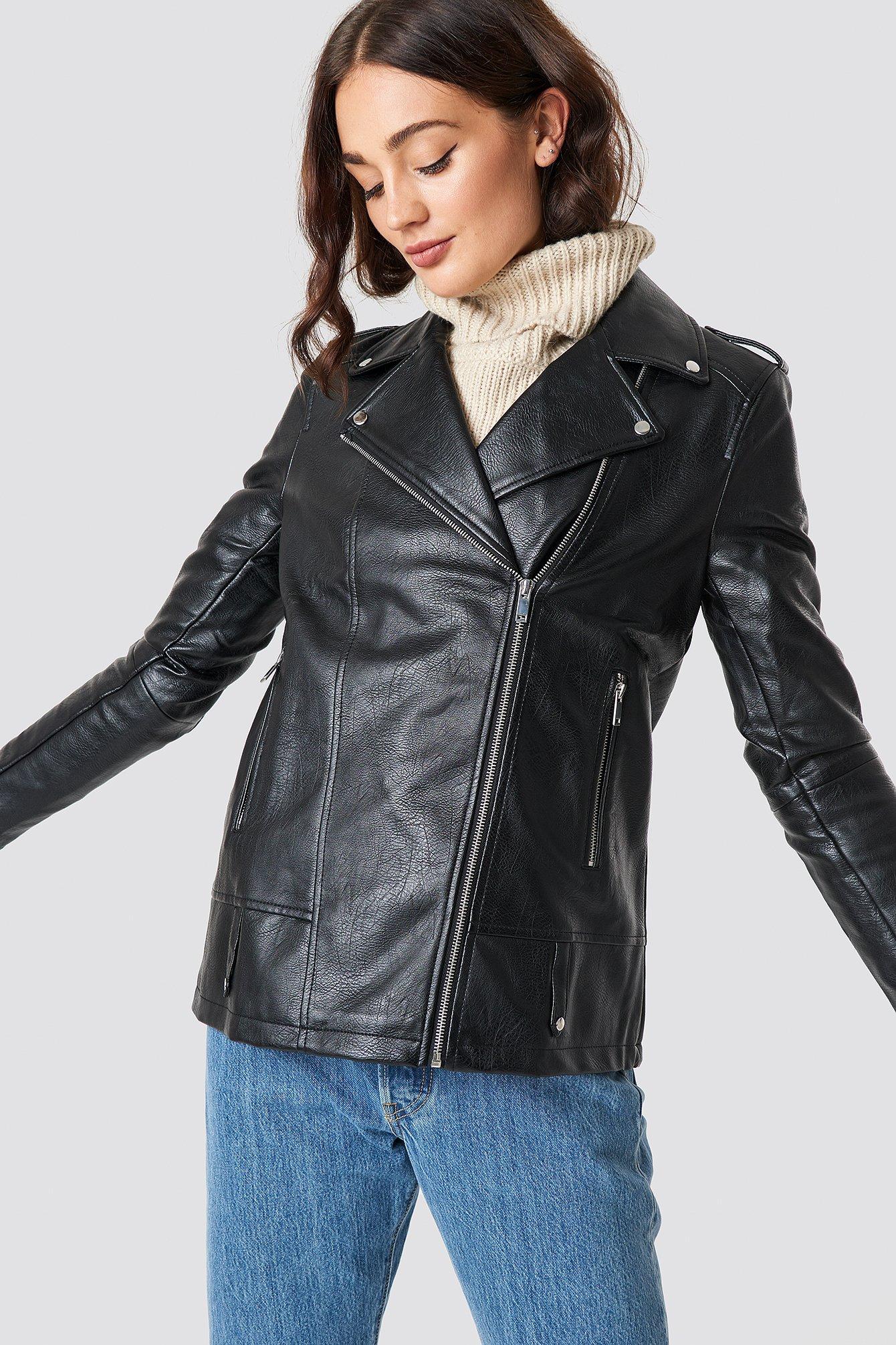 na-kd -  Oversized PU Jacket - Black