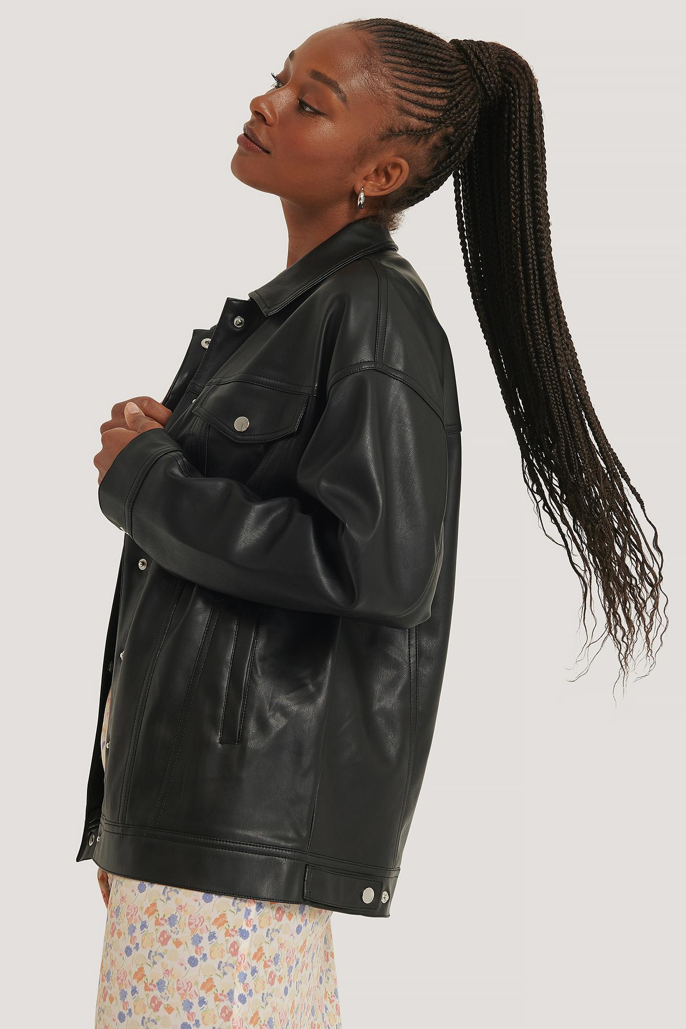 na-kd -  Übergroße Pu-Jacke - Black