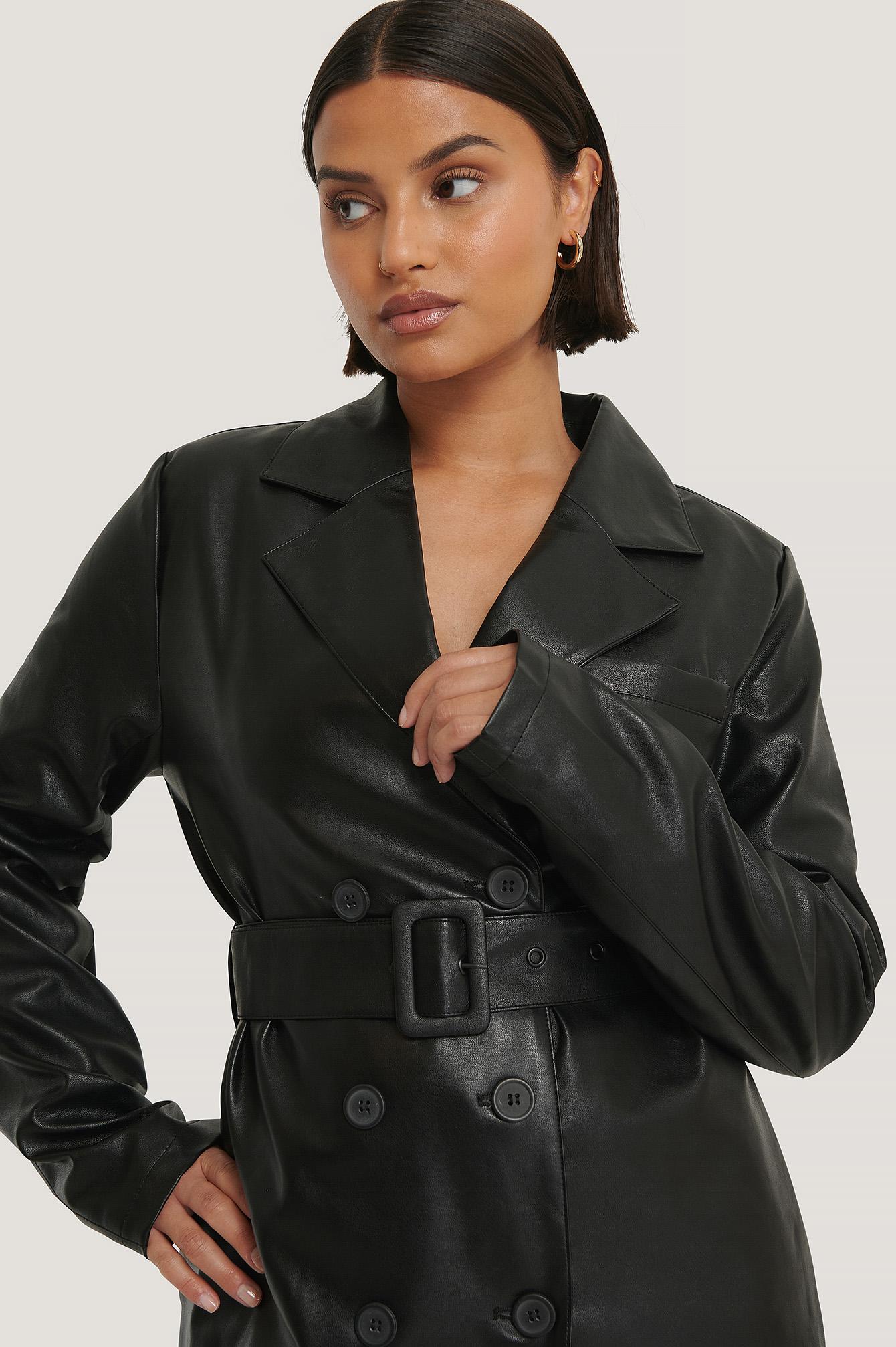 karo kauer x na-kd -  Oversized PU Leather Jacket - Black