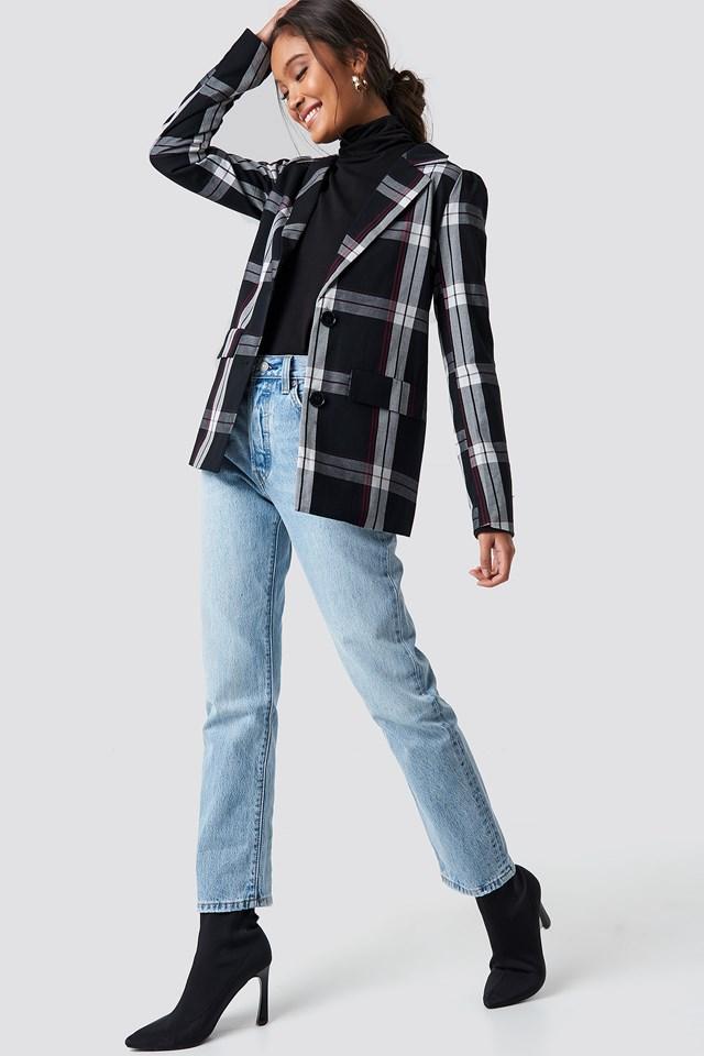 Oversized Puff Shoulder Blazer Checkered