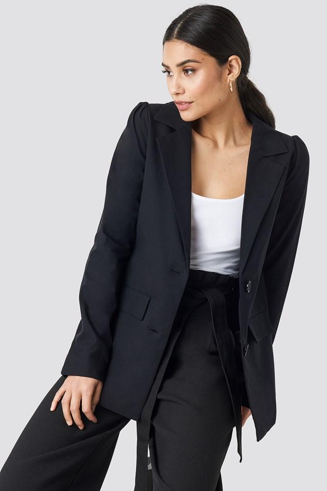 Oversized Puff Shoulder Blazer Black