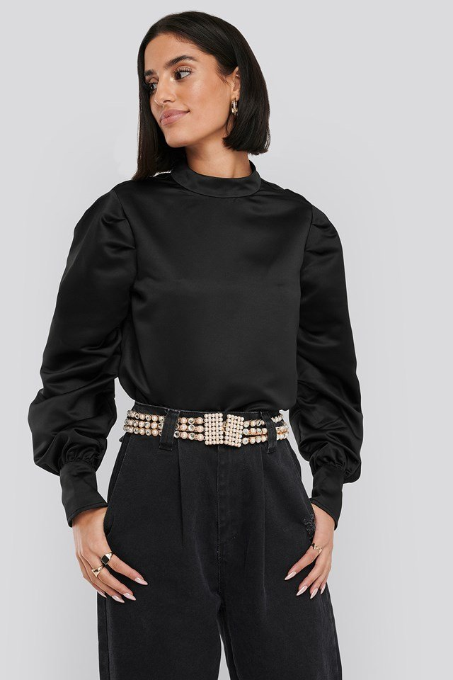 Oversized Puff Sleeve Blouse Black