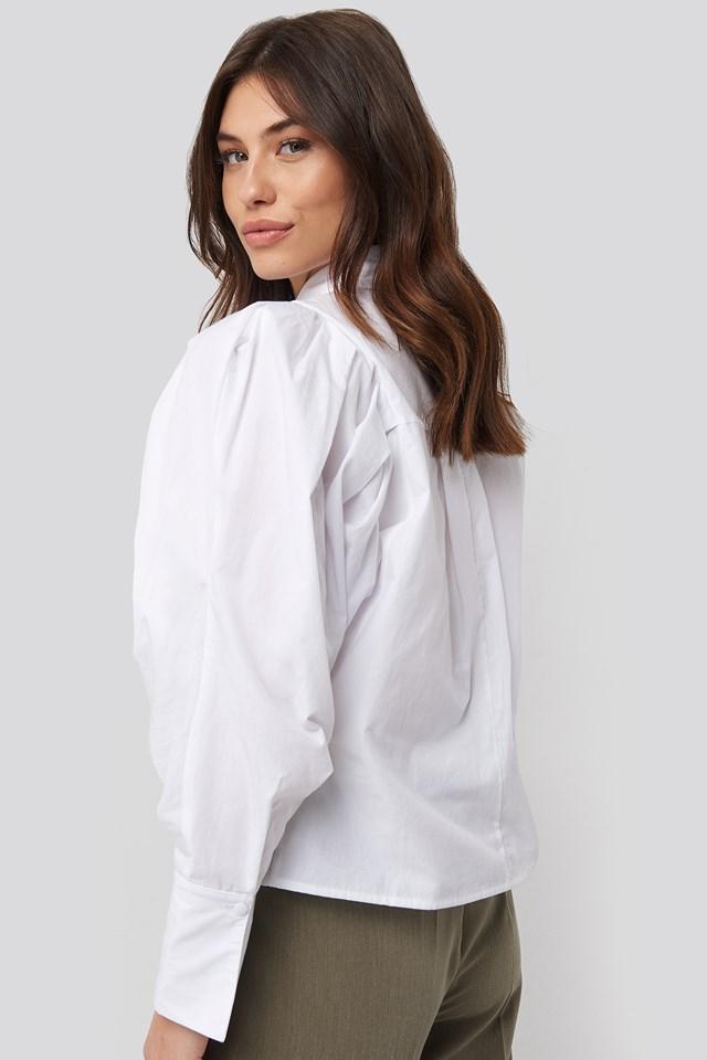 Oversized Puff Sleeve Shirt White