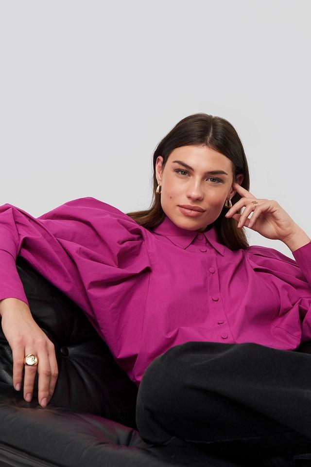 Oversized Puff Sleeve Shirt Pink