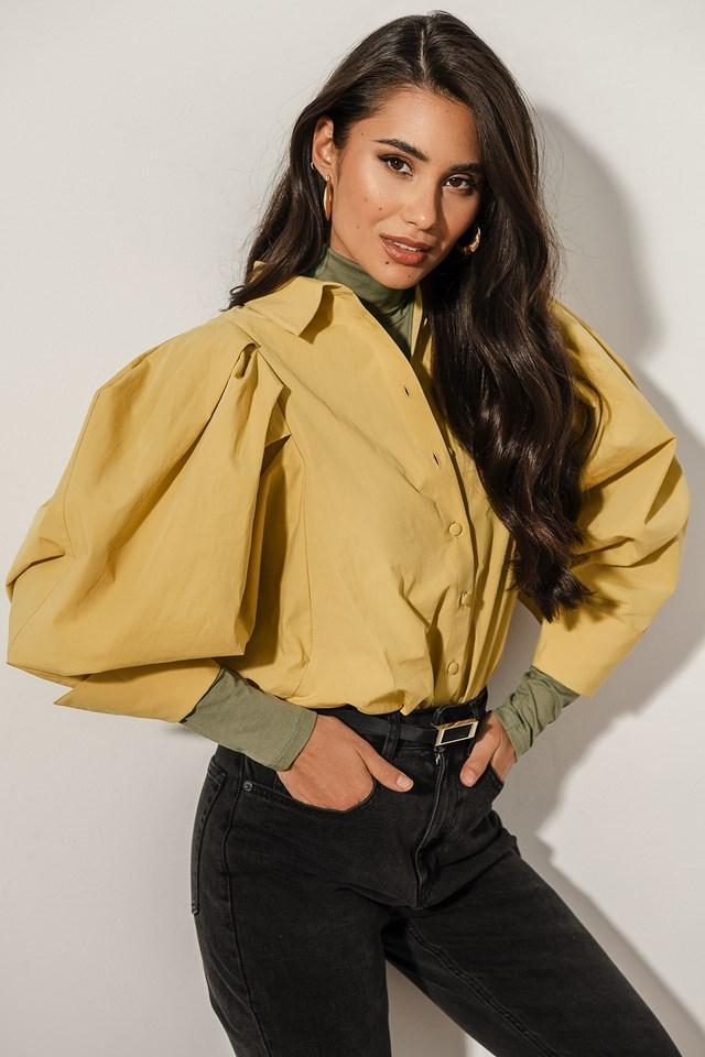 Oversized Puff Sleeve Shirt Yellow