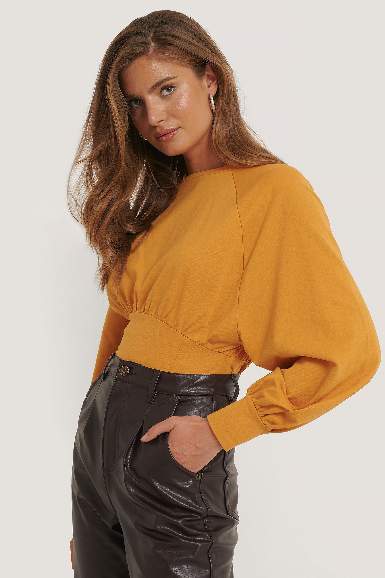 NA-KD Oversized Raglan Sleeve Sweater - Yellow
