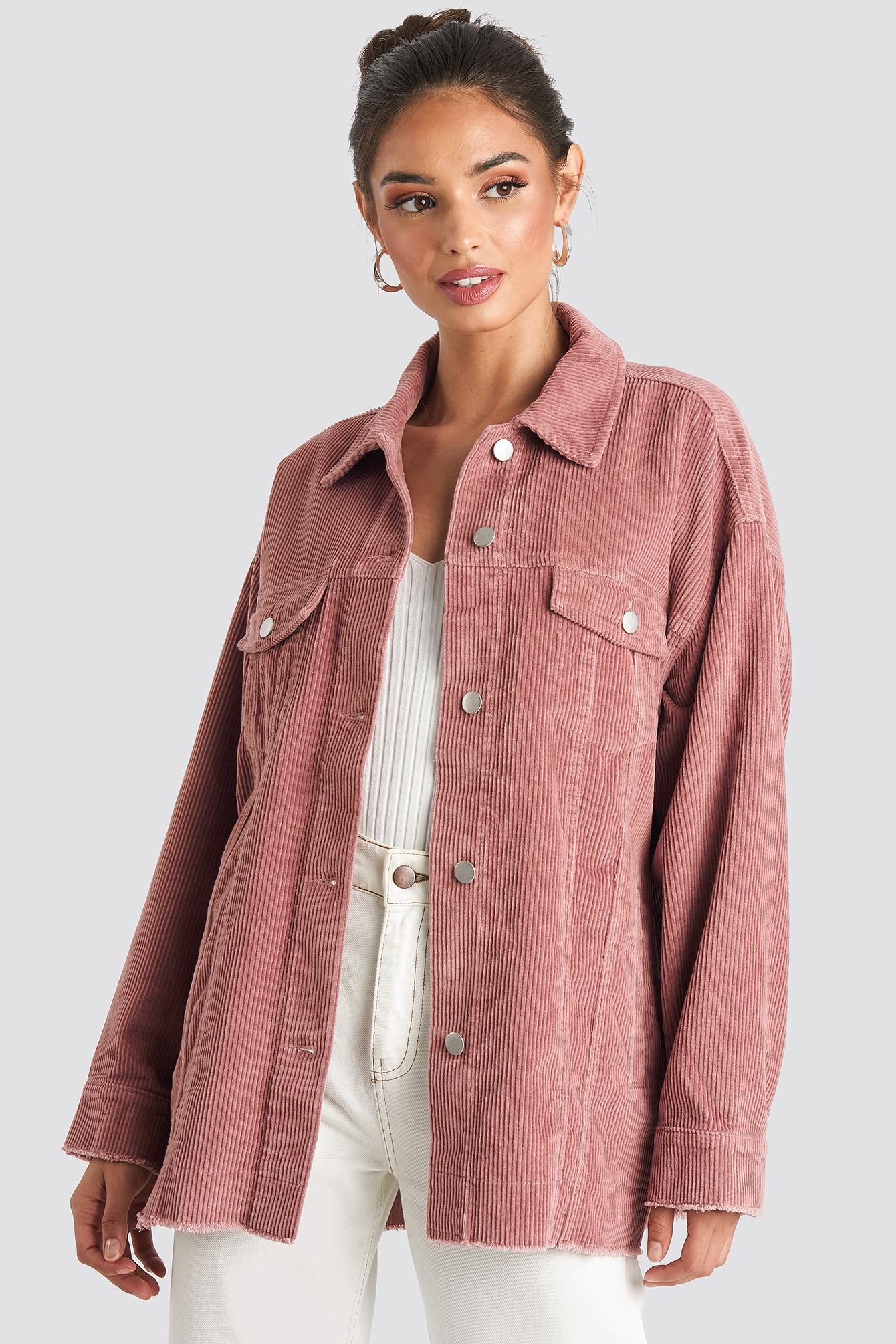 Oversized Raw Hem Corduroy Jacket Rosa by Na Kd Trend