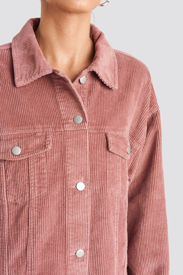 Oversized Raw Hem Corduroy Jacket Dusty Pink