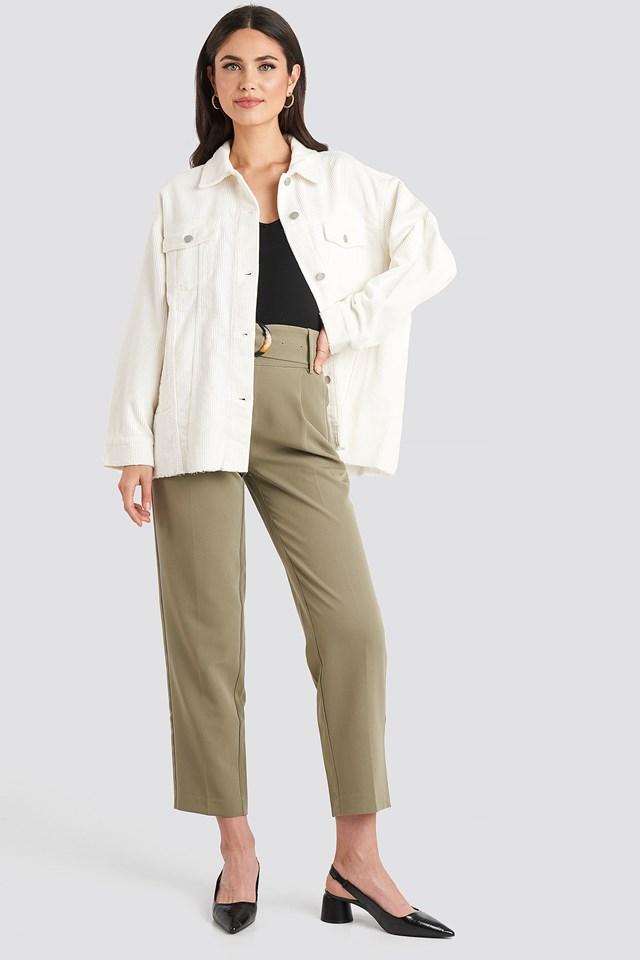 Oversized Raw Hem Corduroy Jacket Offwhite