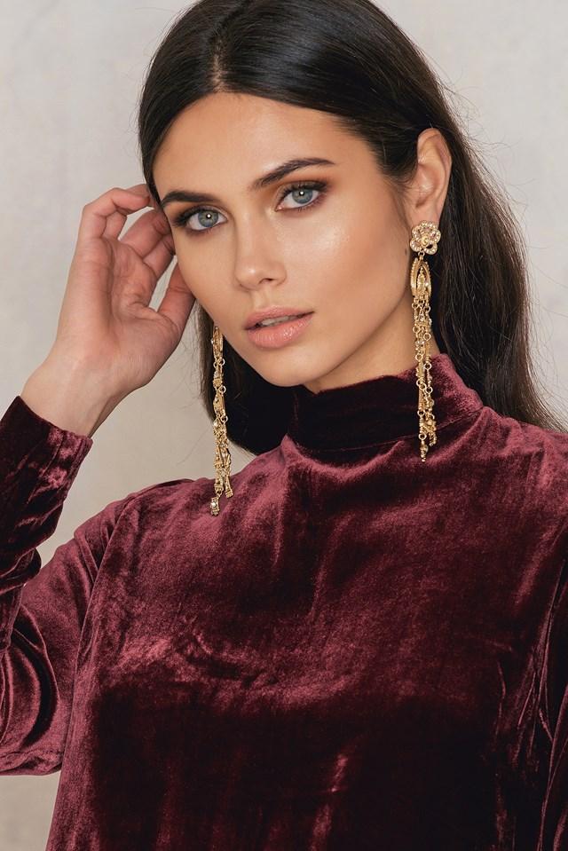 Oversized Rhinestone Drop Earrings Gold