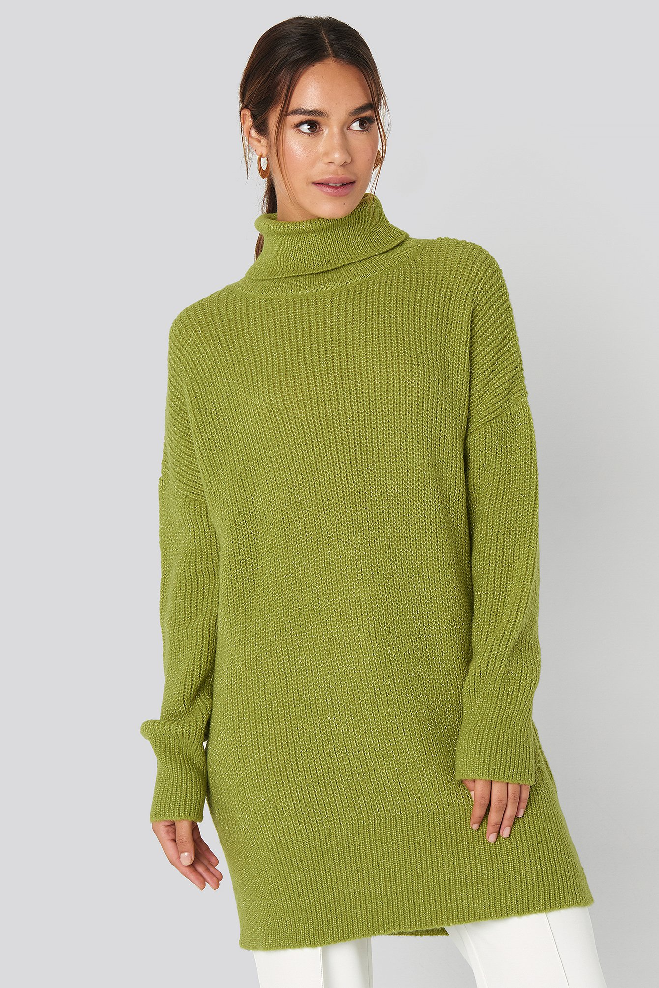 NA-KD Oversized Roll Neck Sweater - Green