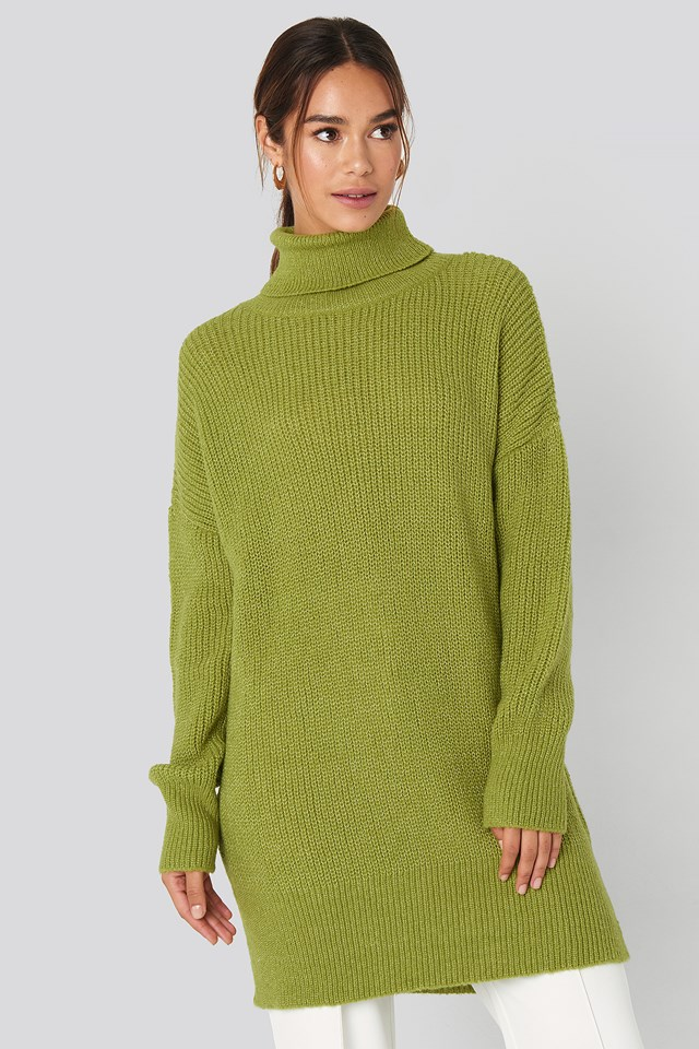 Oversized Roll Neck Sweater Green