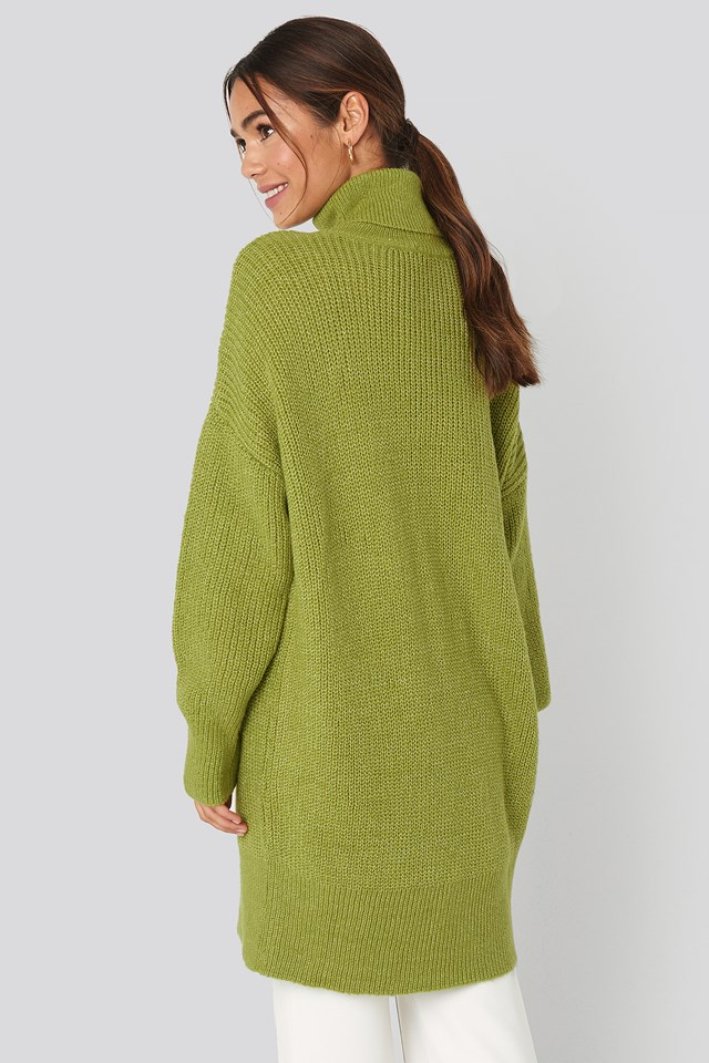 Oversized Roll Neck Sweater Green