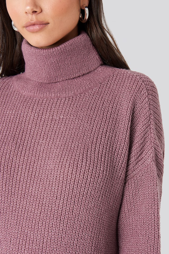 Oversized Roll Neck Sweater Purple