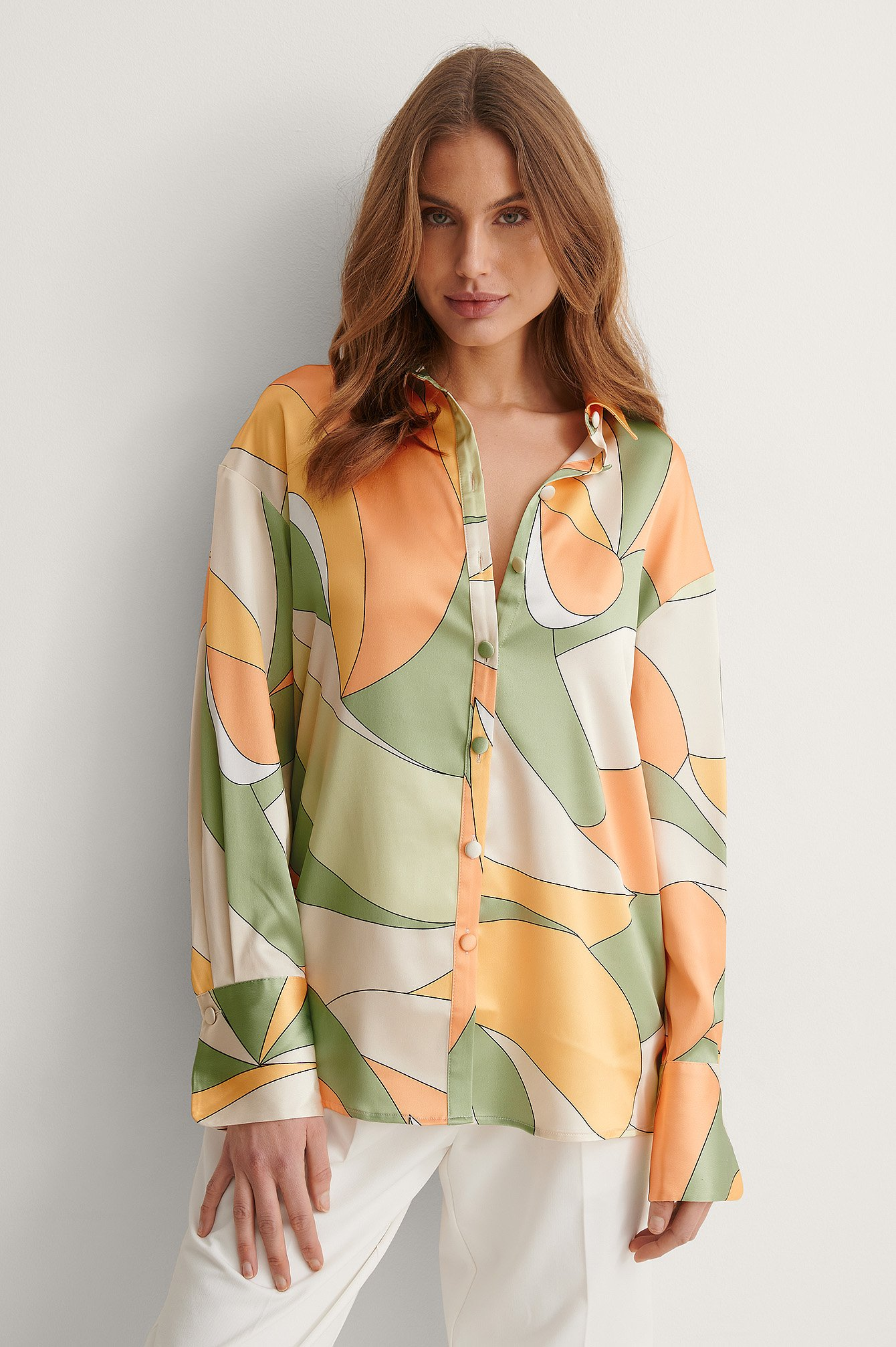 Green Print Oversized Satin Pattern Shirt