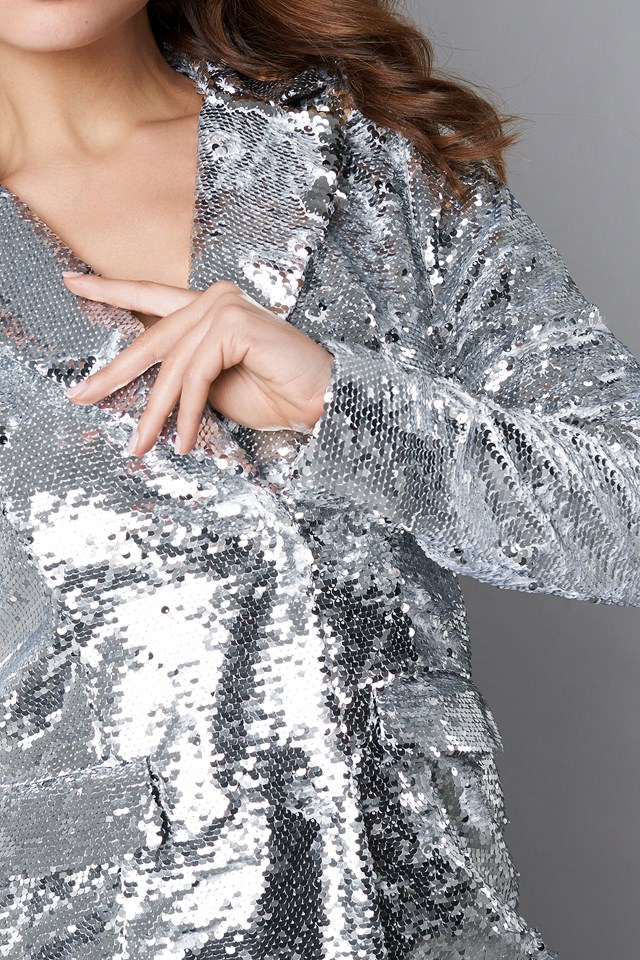 Oversized Sequins Blazer Dress Silver