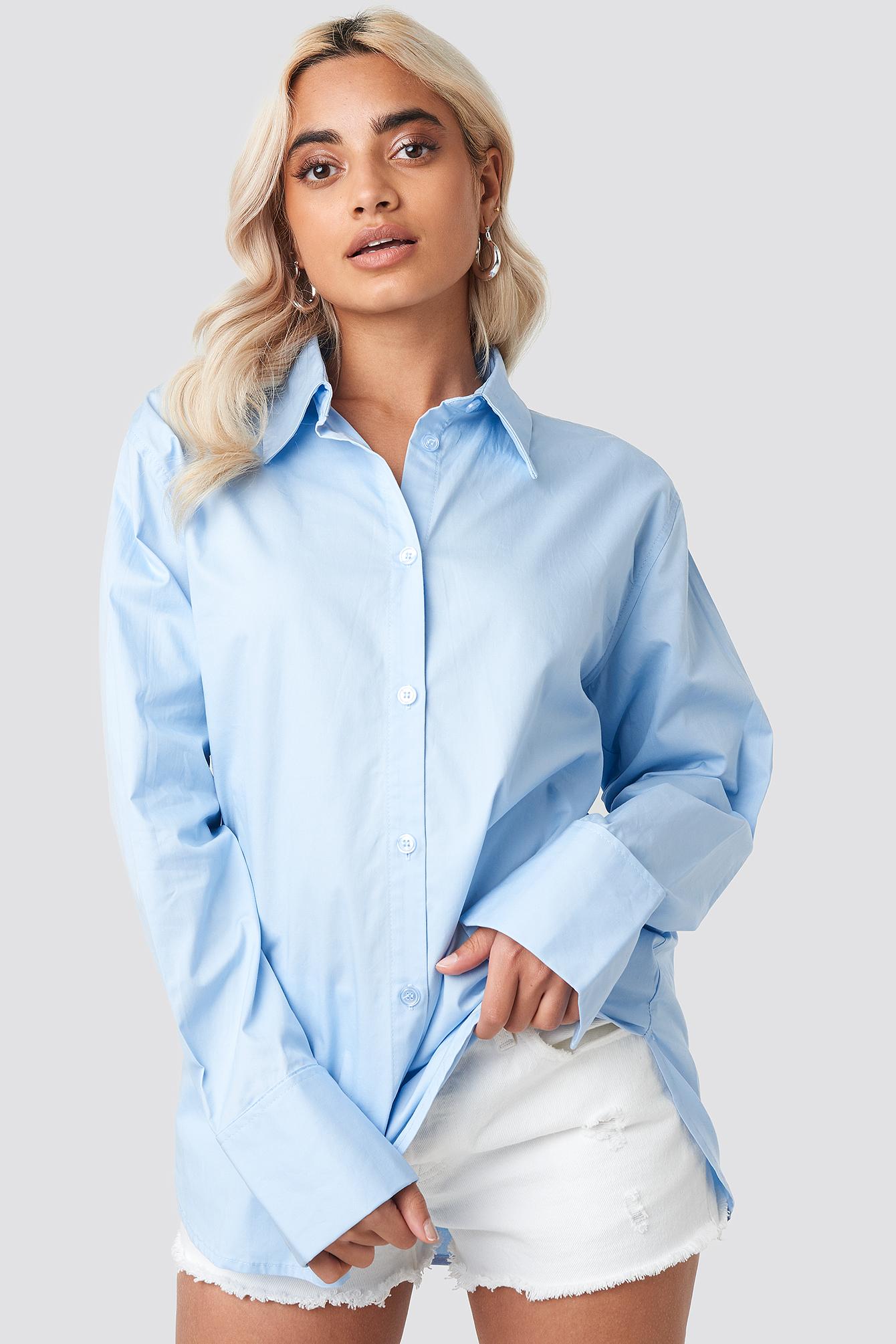 na-kd classic -  Oversized Shirt - Blue