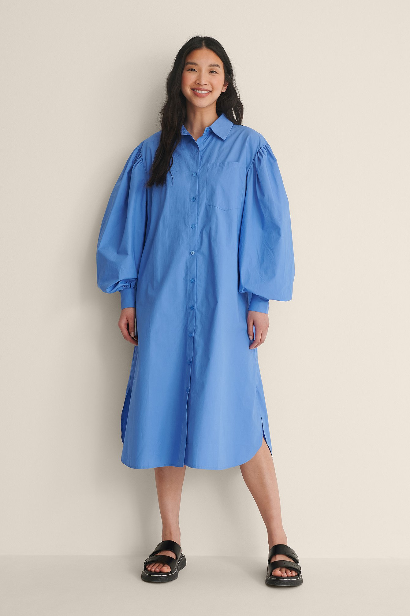 Blue Organic Oversized Shirt Dress
