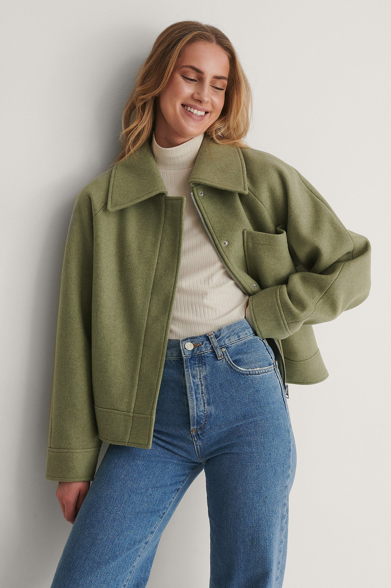Green Oversized Short Chest Pocket Jacket