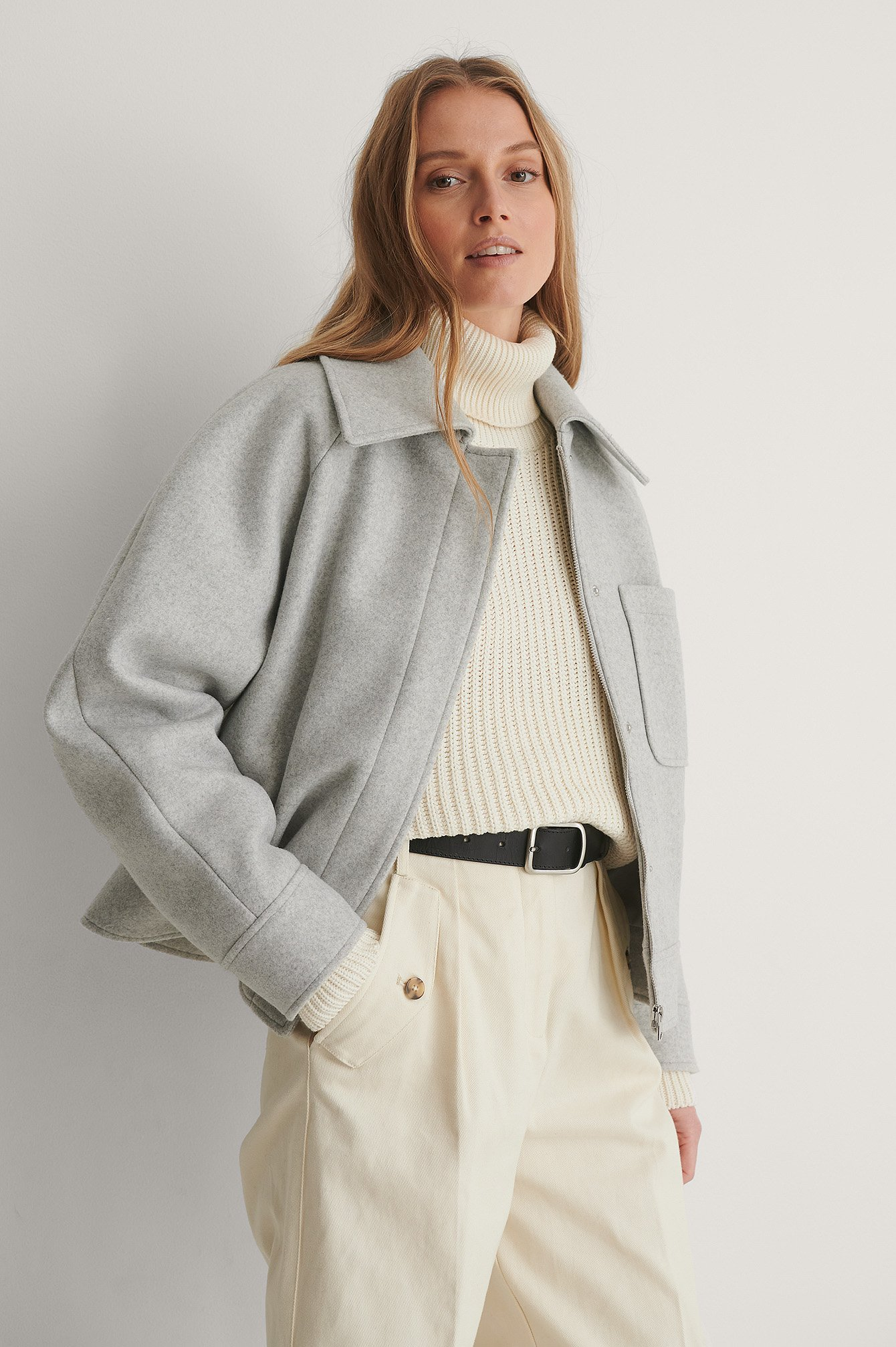 Light Grey Oversized Short Chest Pocket Jacket
