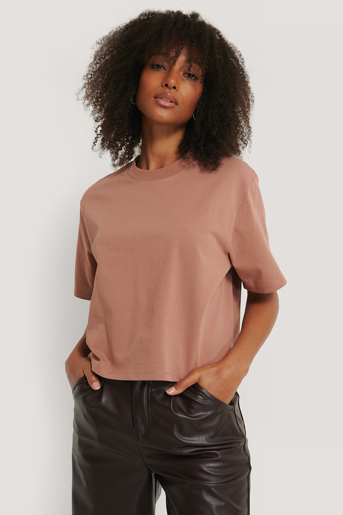 Dusty Dark Pink Oversized T-Skjorte