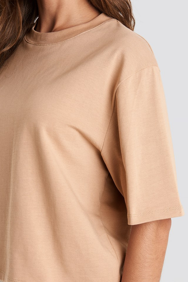 Oversized Short Tee Beige