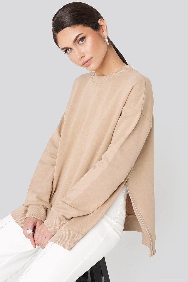 Oversized Side Slit Sweater Beige