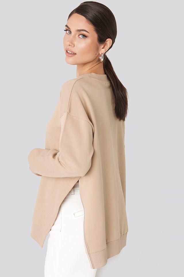 Oversized Side Slit Sweater Beige