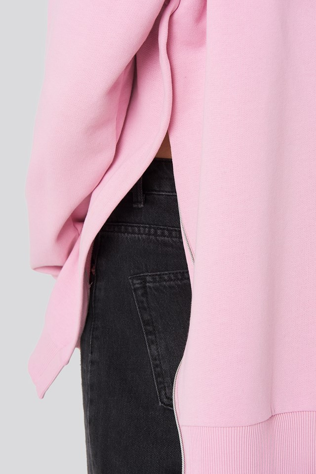 Oversized Side Slit Sweater Pink