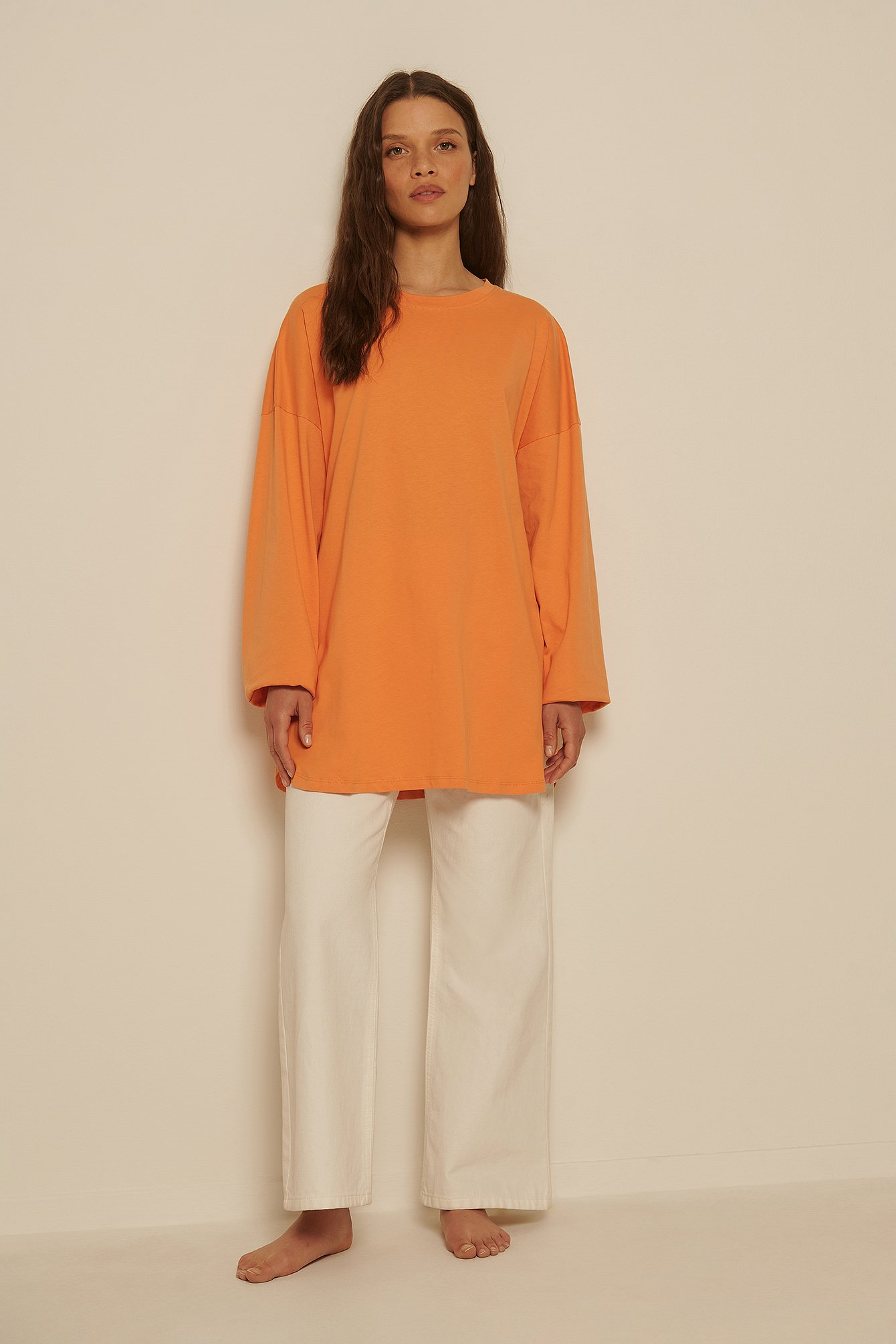 Peach Organic Oversized Side Slit T-Shirt