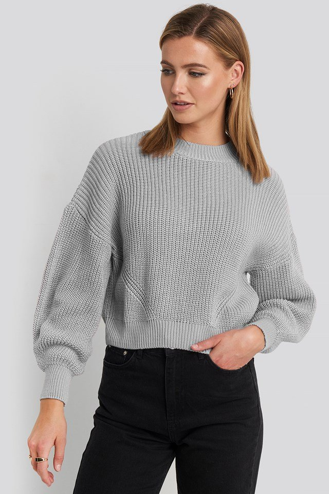 Oversized Sleeve Round Neck Sweater Light Grey