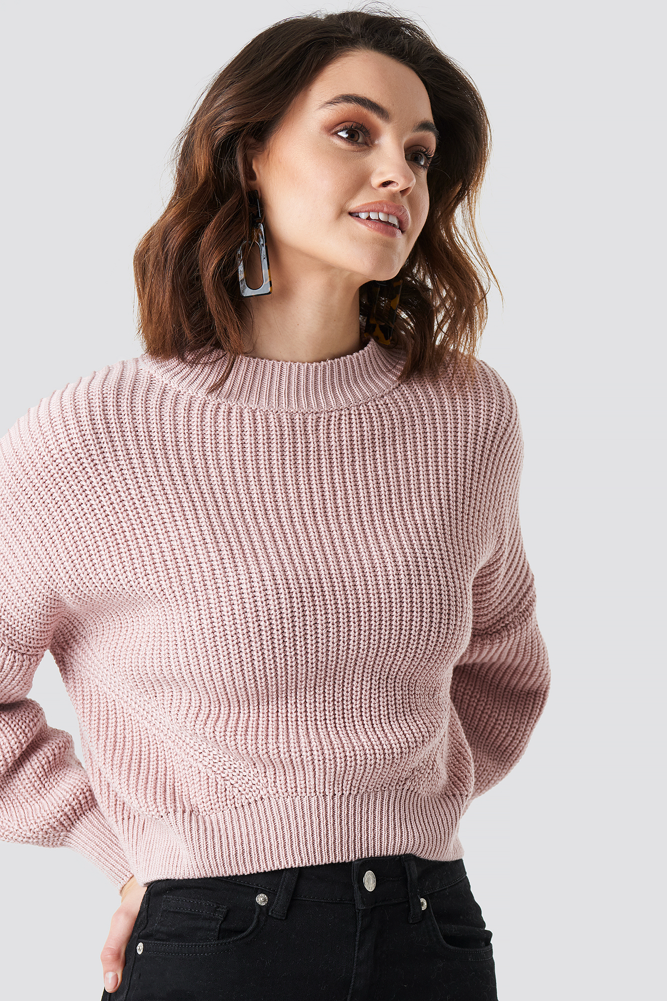 Oversized Sleeve Round Neck Sweater NA-KD.COM