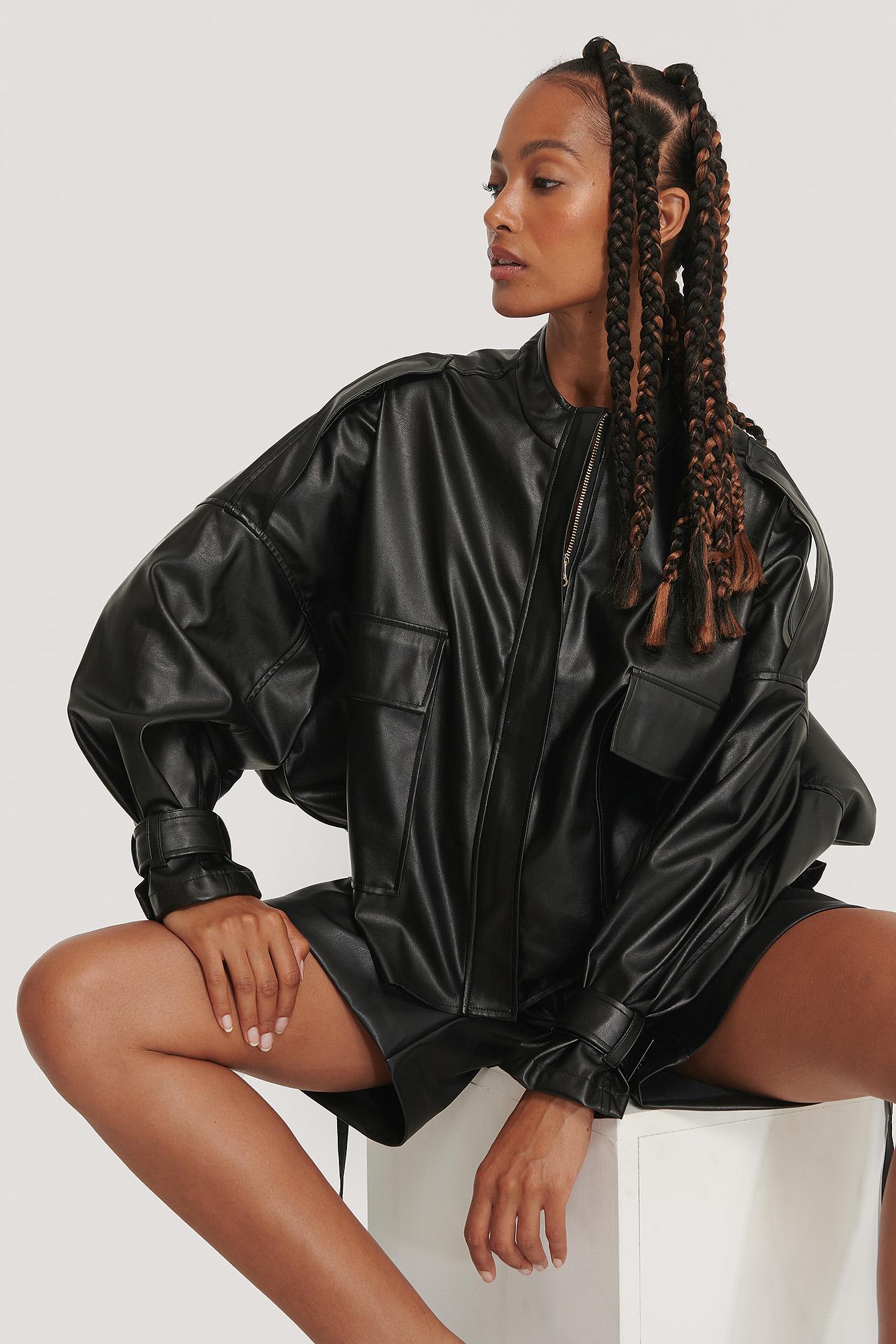 na-kd trend -  Übergroße Weiche Pu-Jacke - Black