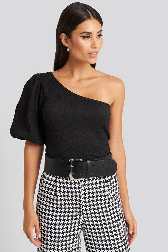 Oversize Squared Buckle Waist Belt Black
