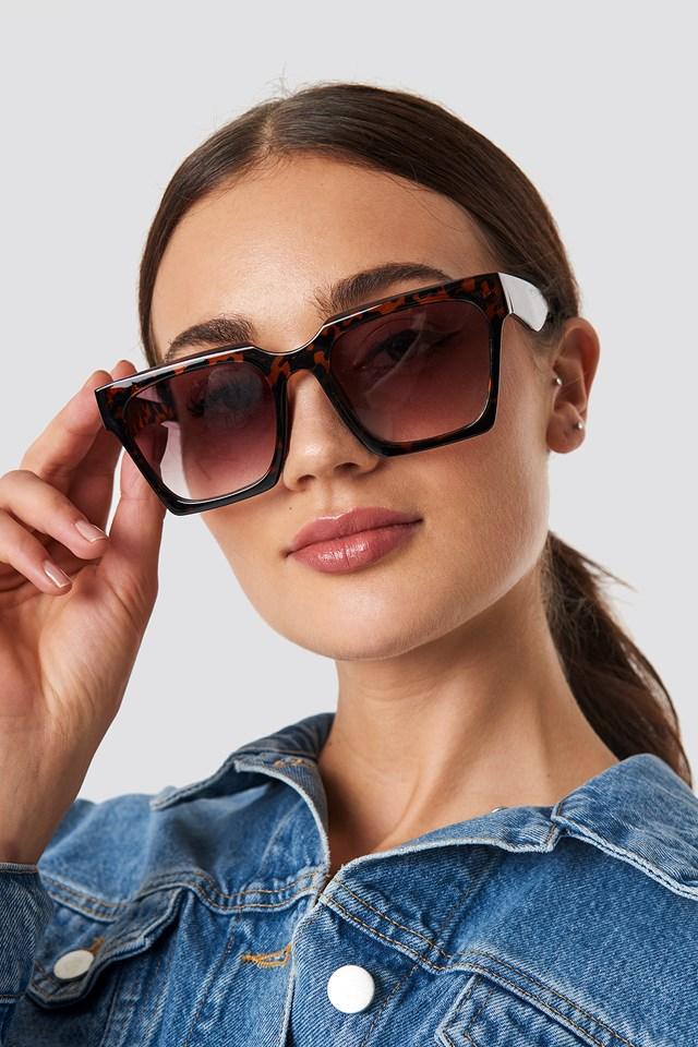 Okulary przeciwsłoneczne Oversize Squared Tortoise