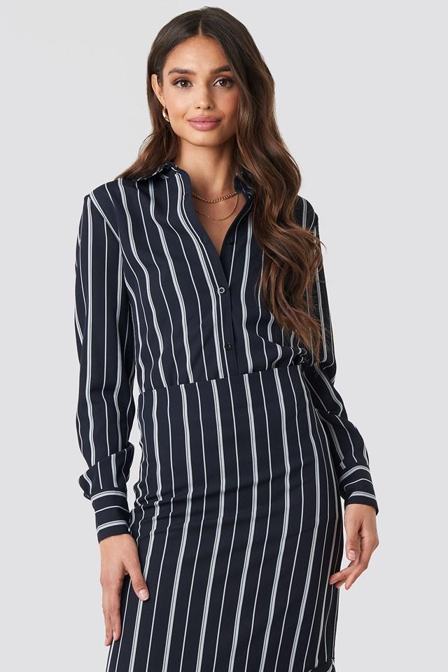 Oversized Straight Striped Shirt Dark Blue/White Stripe